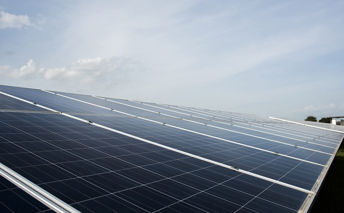 Solar cell farm in power station for alternative energy from the